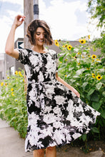 Load image into Gallery viewer, Passion Flower Black Dress - Boho Valley Boutique