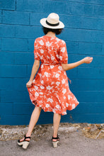 Load image into Gallery viewer, Passion Flower Persimmon Dress - Boho Valley Boutique