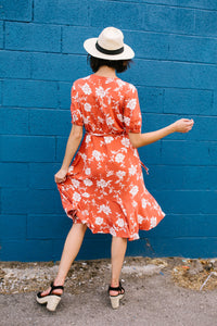 Passion Flower Persimmon Dress - Boho Valley Boutique