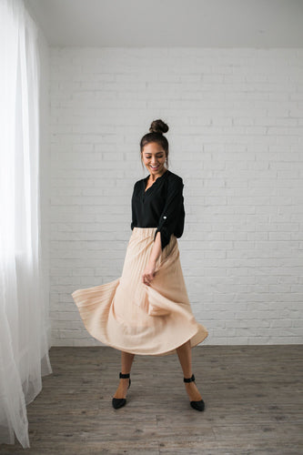 Pleated Chiffon Maxi Skirt - ALL SALES FINAL - Boho Valley Boutique