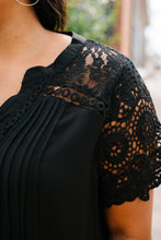 Load image into Gallery viewer, Pleats + Lace Blouse In Black