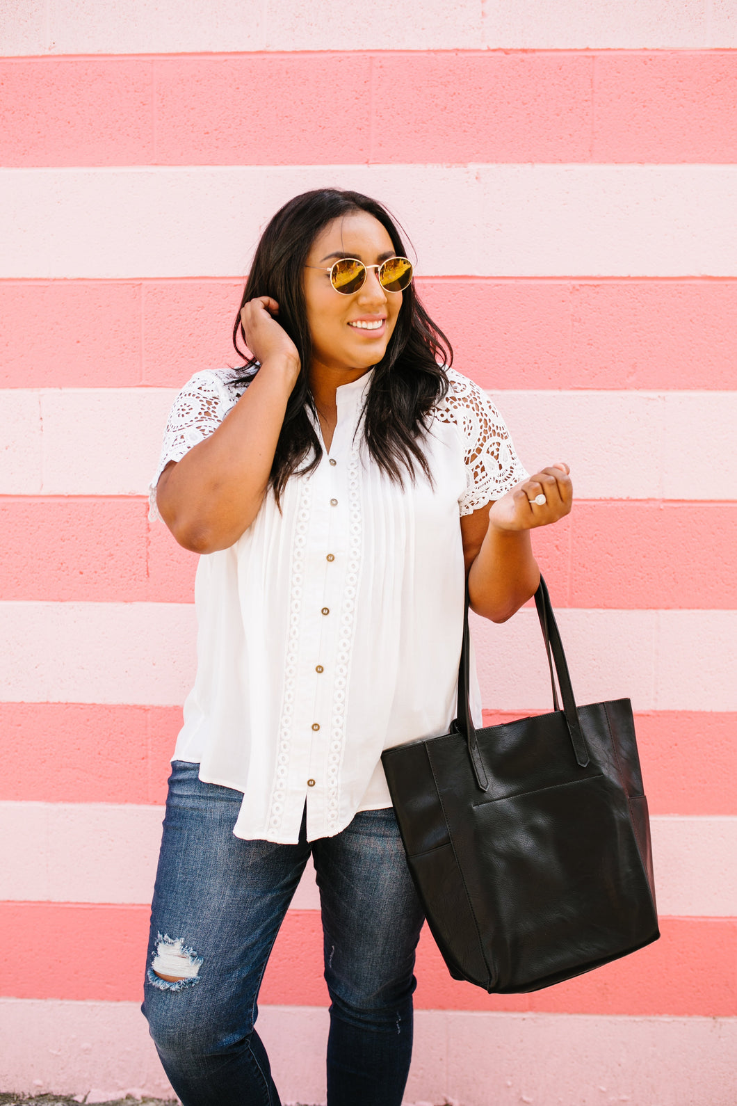 Pleats + Lace Blouse In White