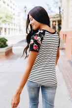 Load image into Gallery viewer, Rosie Flowers + Stripes Raglan Tee - Boho Valley Boutique