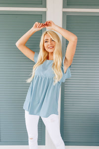 Ruffled Sleeve Baby Doll Blouse In Dusty Blue - Boho Valley Boutique