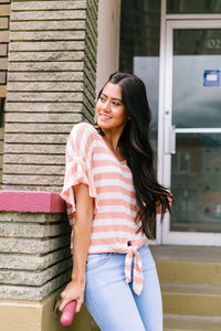 Ruffles + Ties Stripes Top In Peach