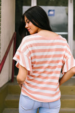 Load image into Gallery viewer, Ruffles + Ties Stripes Top In Peach