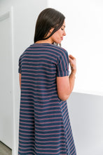 Load image into Gallery viewer, Santa Clara Striped T-Shirt Dress - Boho Valley Boutique