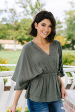 Load image into Gallery viewer, Slate Wrap Front Kimono Blouse