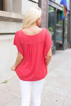 Load image into Gallery viewer, Summer Breeze Blouse In Melon - Boho Valley Boutique