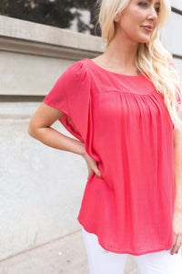 Summer Breeze Blouse In Melon - Boho Valley Boutique