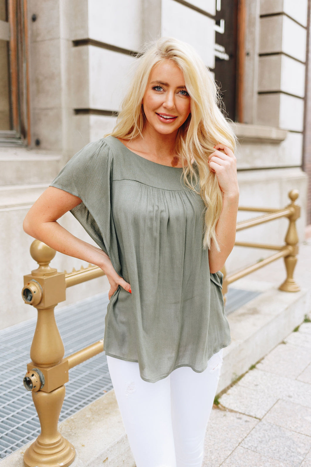 Summer Breeze Blouse In Sage - Boho Valley Boutique