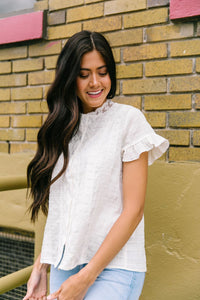 Sybil Lace Button-Down Blouse - Boho Valley Boutique