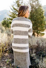 Load image into Gallery viewer, The Amelia Striped Cardi in Gray - ALL SALES FINAL