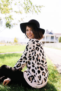 The Cat's Meow Leopard Sweater In Cream - Boho Valley Boutique