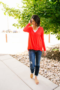 Tomato Red Gauzy Top
