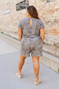 Washed Out Camo Romper - Boho Valley Boutique