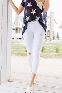 White Distressed Skinny Jeans - Boho Valley Boutique
