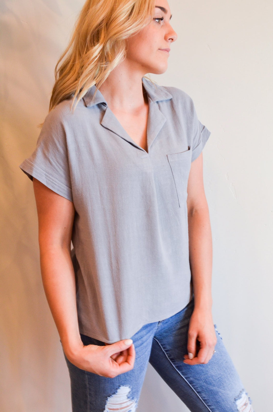Working For The Weekend Top In Gray - Boho Valley Boutique