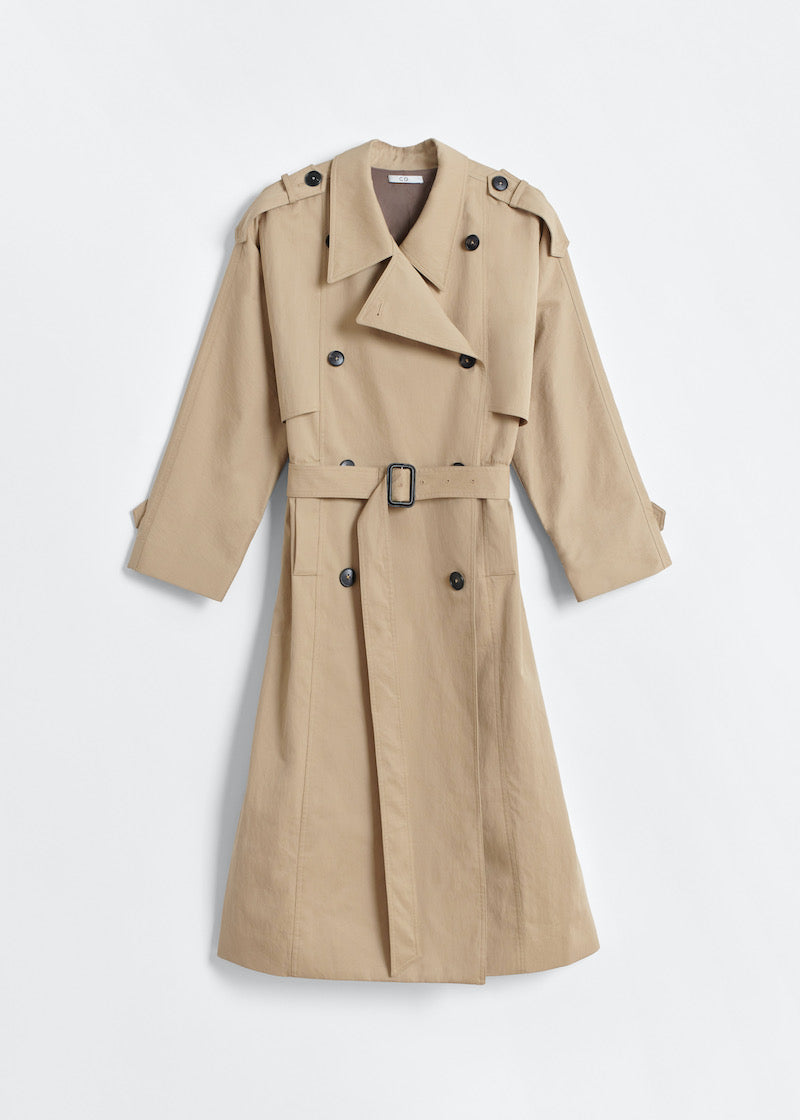 Long Trench Coat in Cotton Twill - Beige - CO