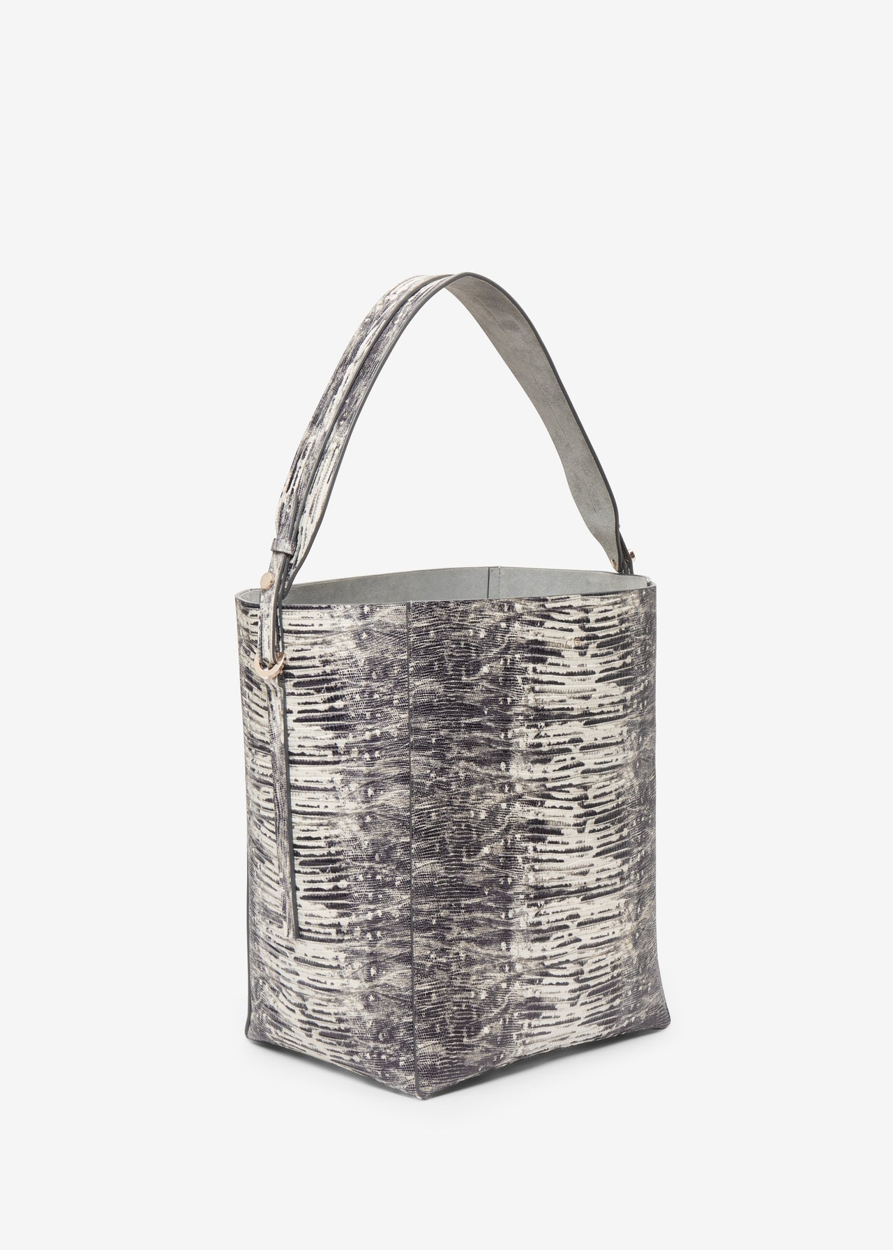 Bucket Bag in Embossed Leather - Grey