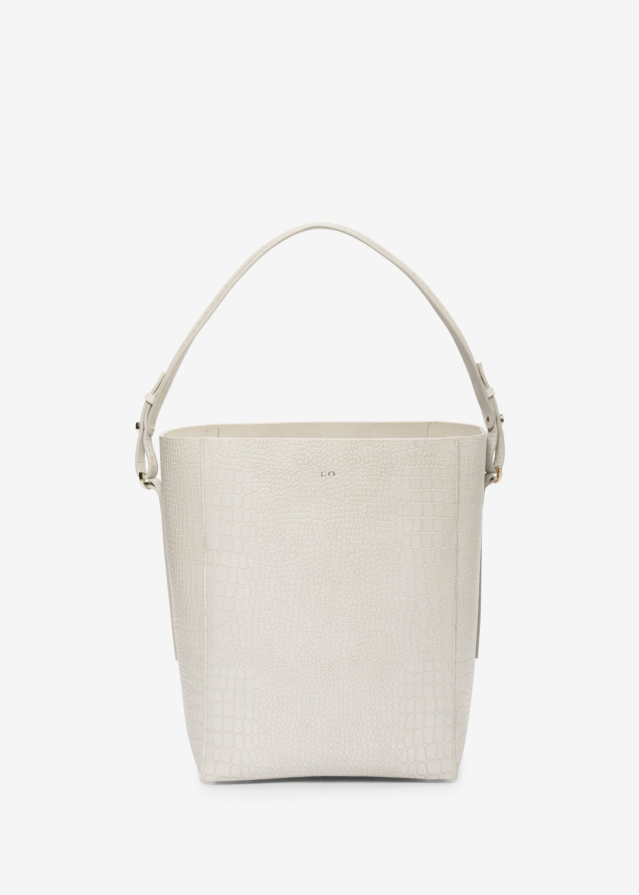 Bucket Bag in Embossed Leather - White