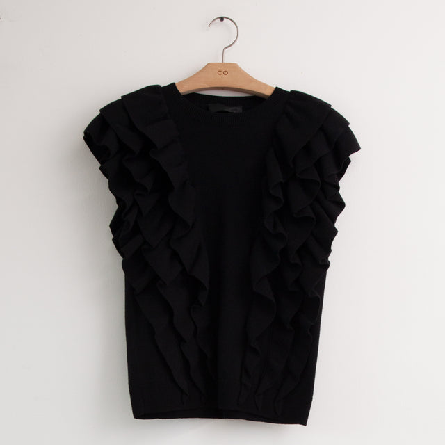 CO - Cap sleeve sweater with tiered ruffle bodice in black compact viscose