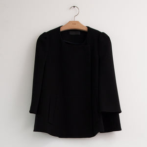 Bracelet sleeve swing jacket in black heavy crepe - CO