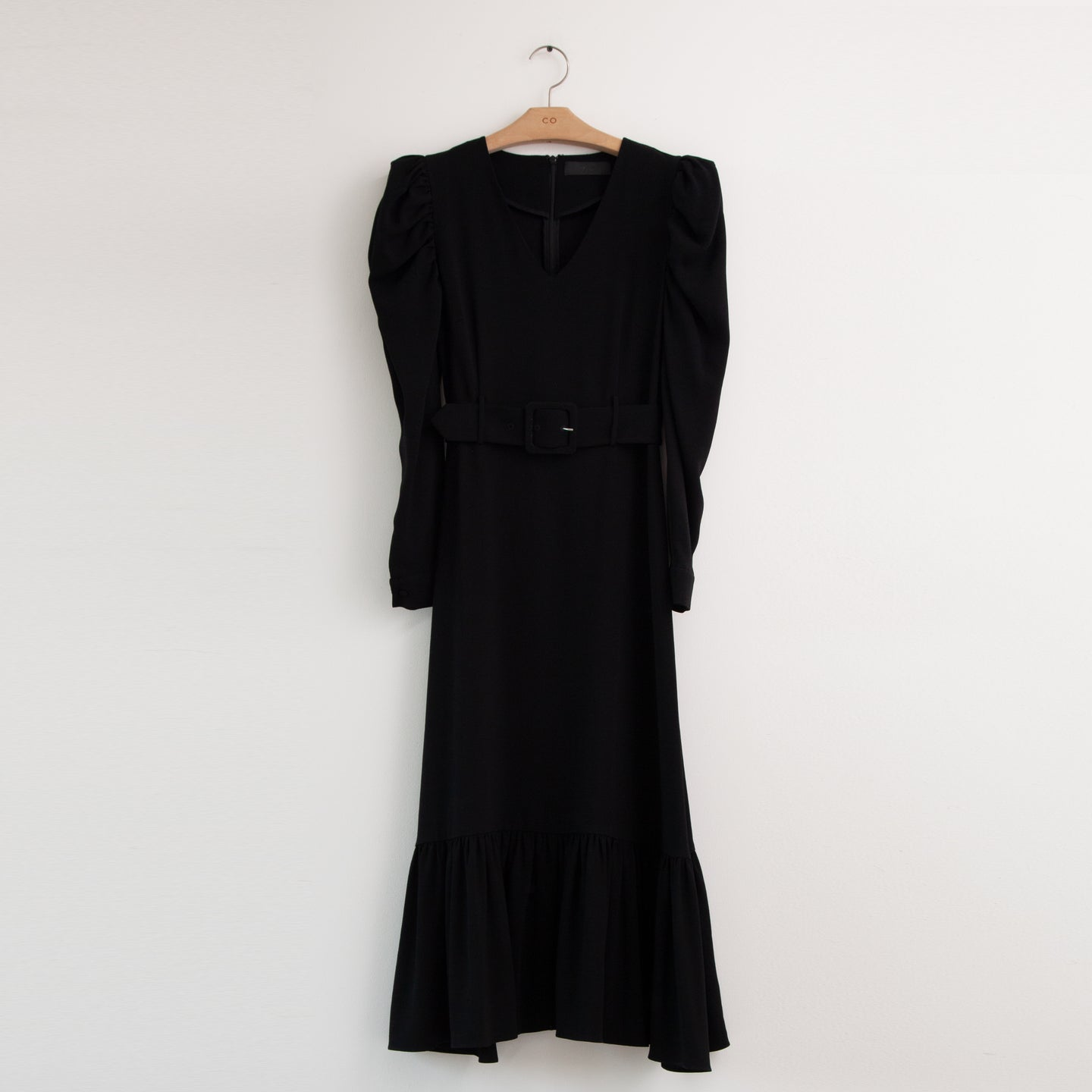 CO - Long sleeve belted dress with ruffle hem and shoulder rouching in black japanese crepe