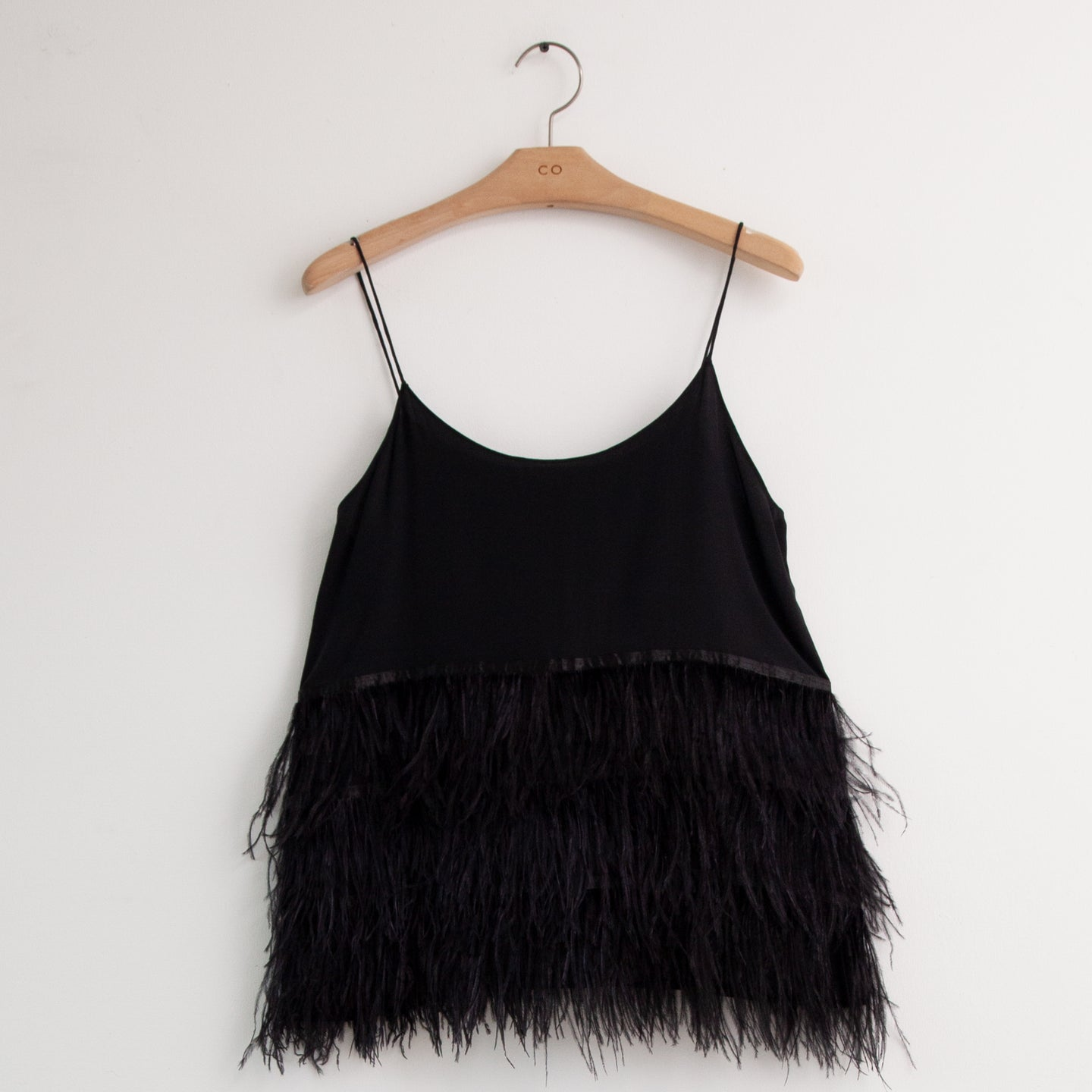 CO - Thin strap cami with tiered feather hem in black silk