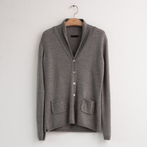 Long sleeve button front cardigan with rolled collar in grey lightweight wool - CO
