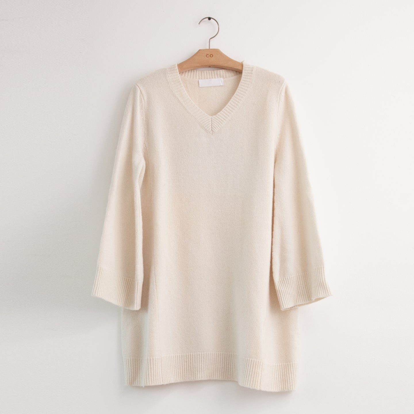 Oversized v neck tunic sweater in wool cashmere - CO