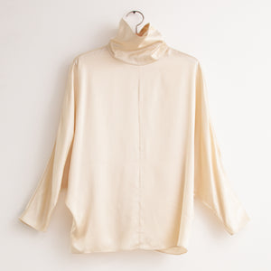 Dolman sleeve mock neck blouse with zip back entry in ivory silk charmeuse - CO