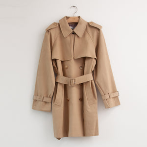 Long sleeve cropped belted double breasted trench coat in camel water resistant cotton twill - CO
