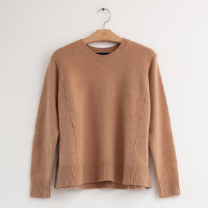 Long sleeve crew neck oversized sweater in camel cashmere - CO