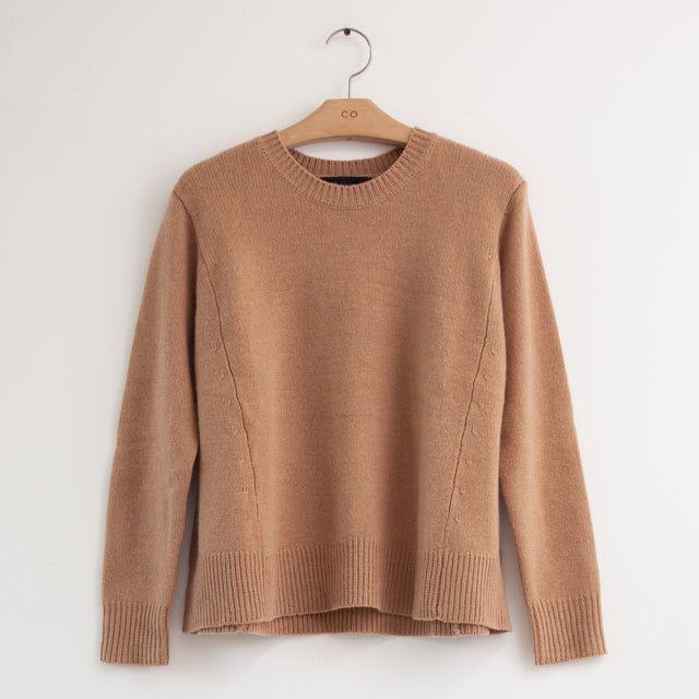 CO - Long sleeve crew neck oversized sweater in camel cashmere
