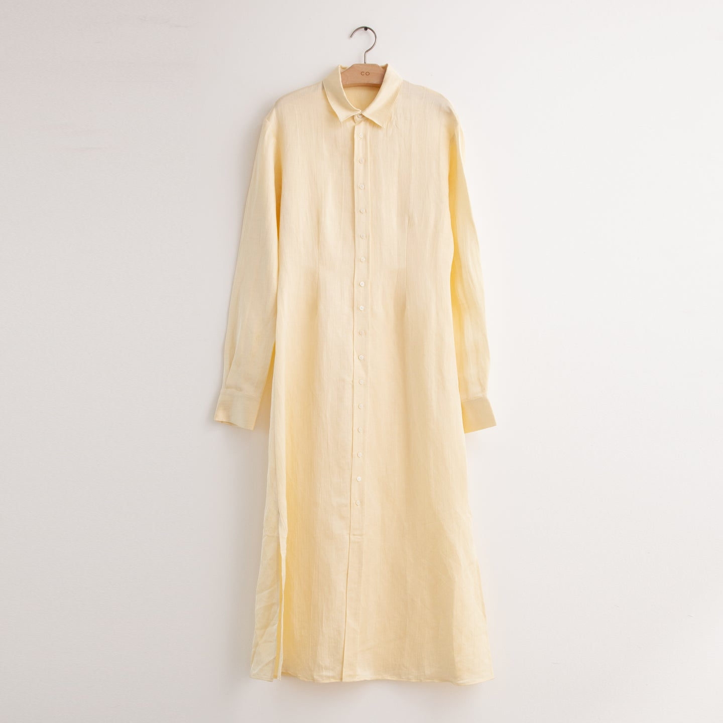 CO - Long sleeve button front shirtdress in buttercream crinkle silk