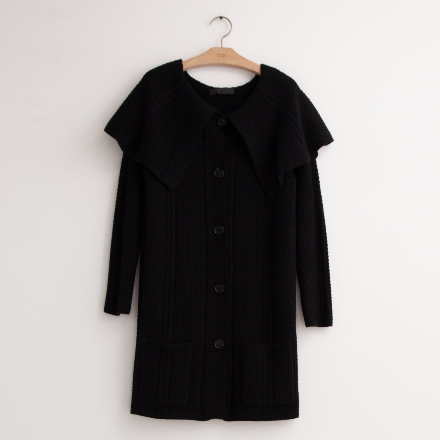 CO - Oversized cable knit cardigan with shawl collar in black wool