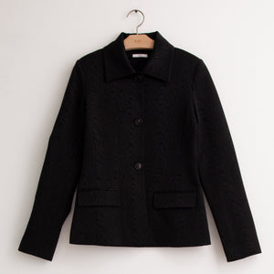Copy of Button front boxy jacket in black moire jacquard. - CO