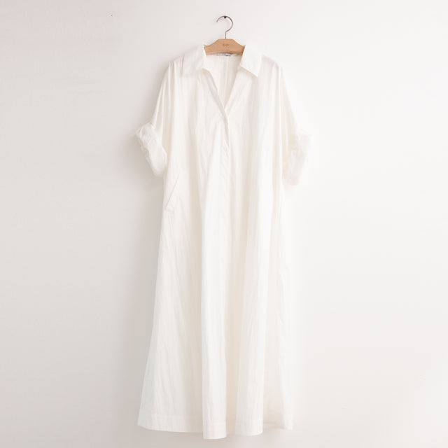 CO - A line shirt dress with convertible sleeve detail in white cotton nylon