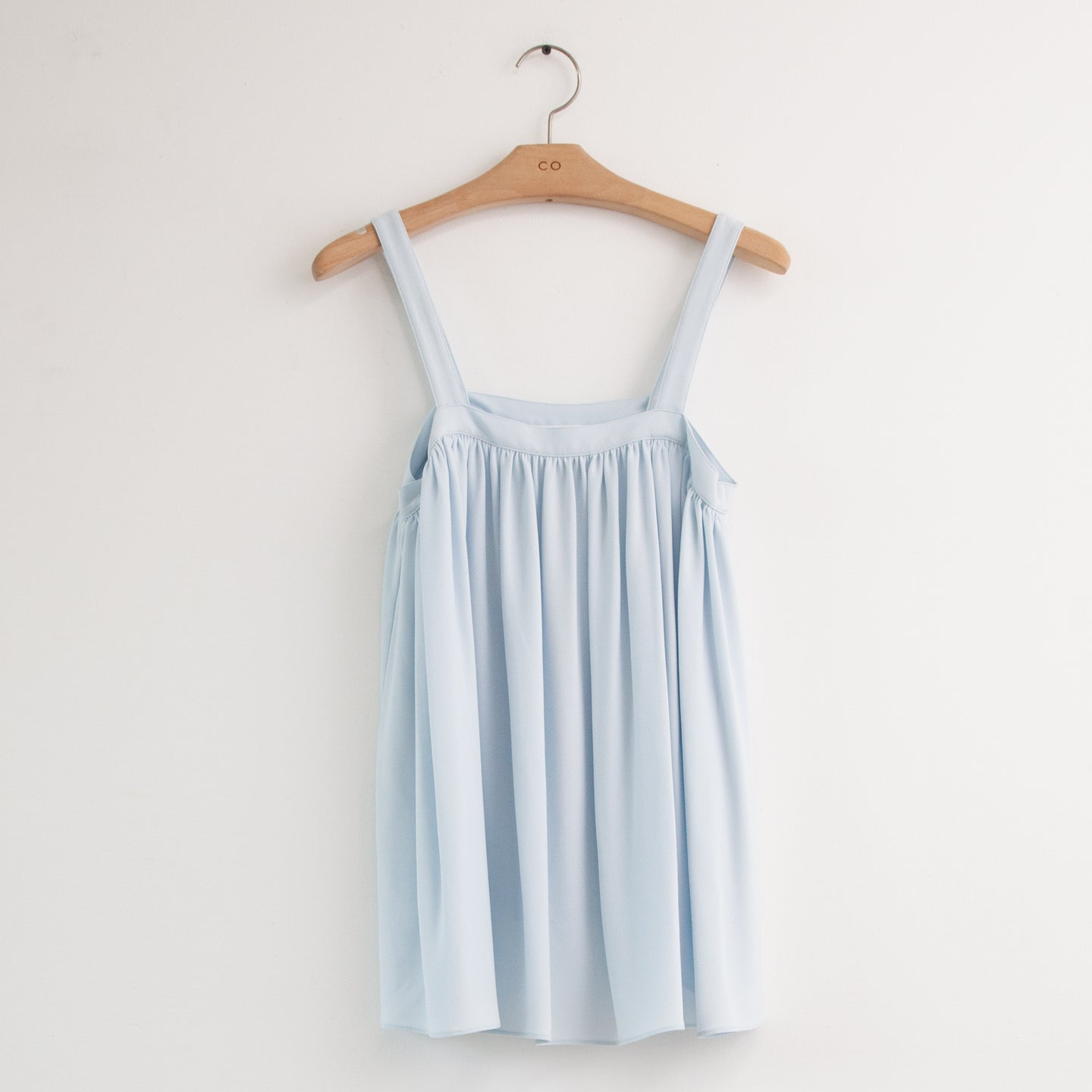 CO - Thin strap square neck swing blouse in light blue cotton silk blend
