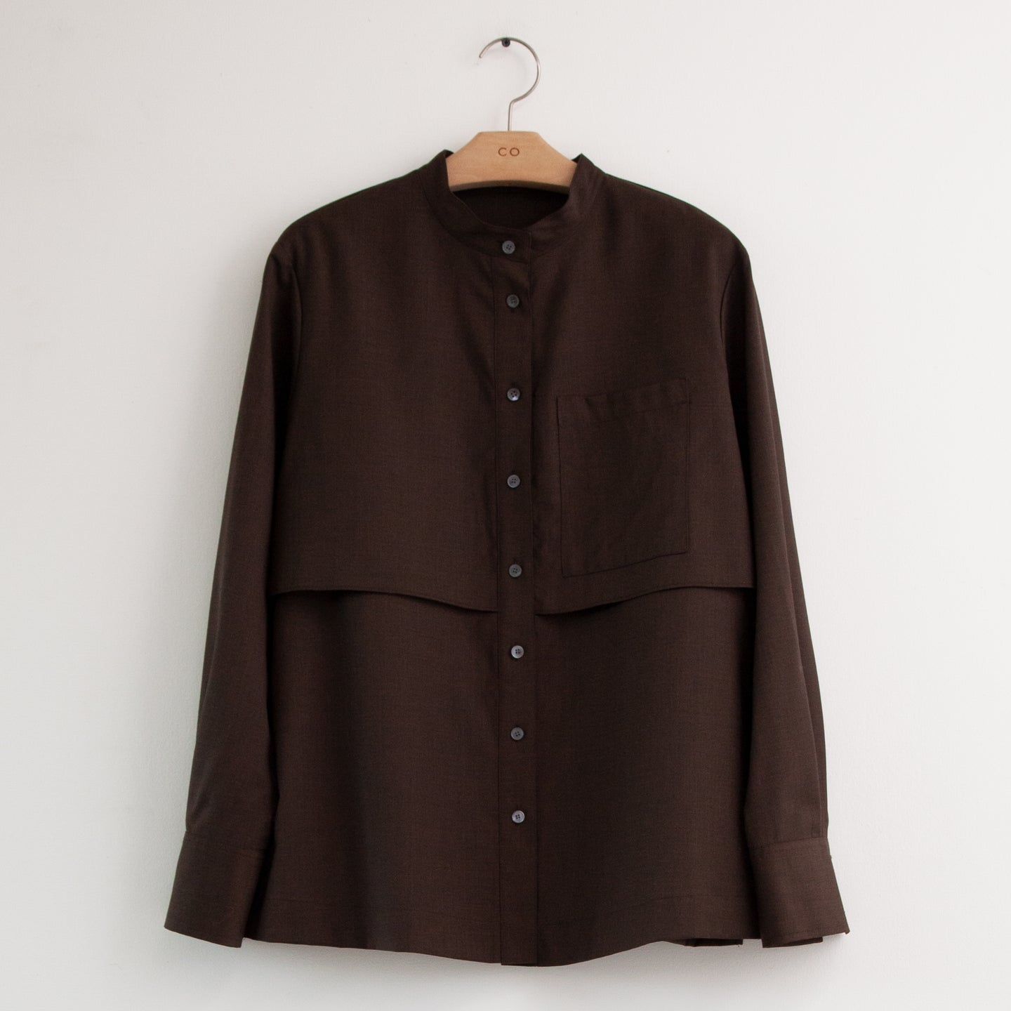 CO - Long sleeve button up blouse in espresso