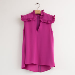 CO - Sleeveless blouse with ruffled shoulder epaulletes in magenta crepe