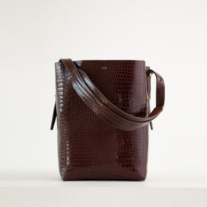 CO - Classic tote in dark brown embossed leather