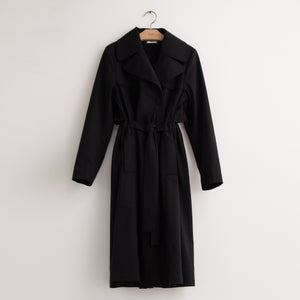 Classic mid length trench coat with back gathered volume in black wool gaberdine - CO