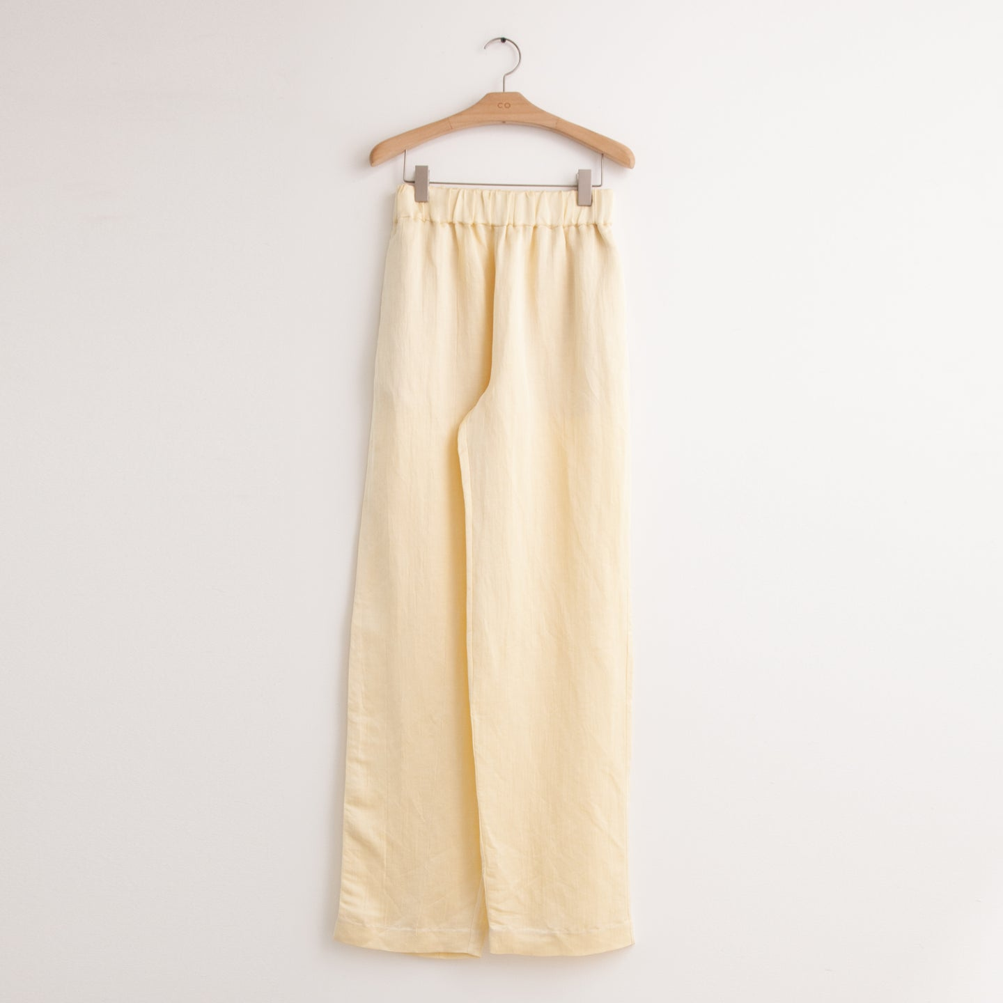 CO - Elastic waist trouser in buttercream crinkle silk