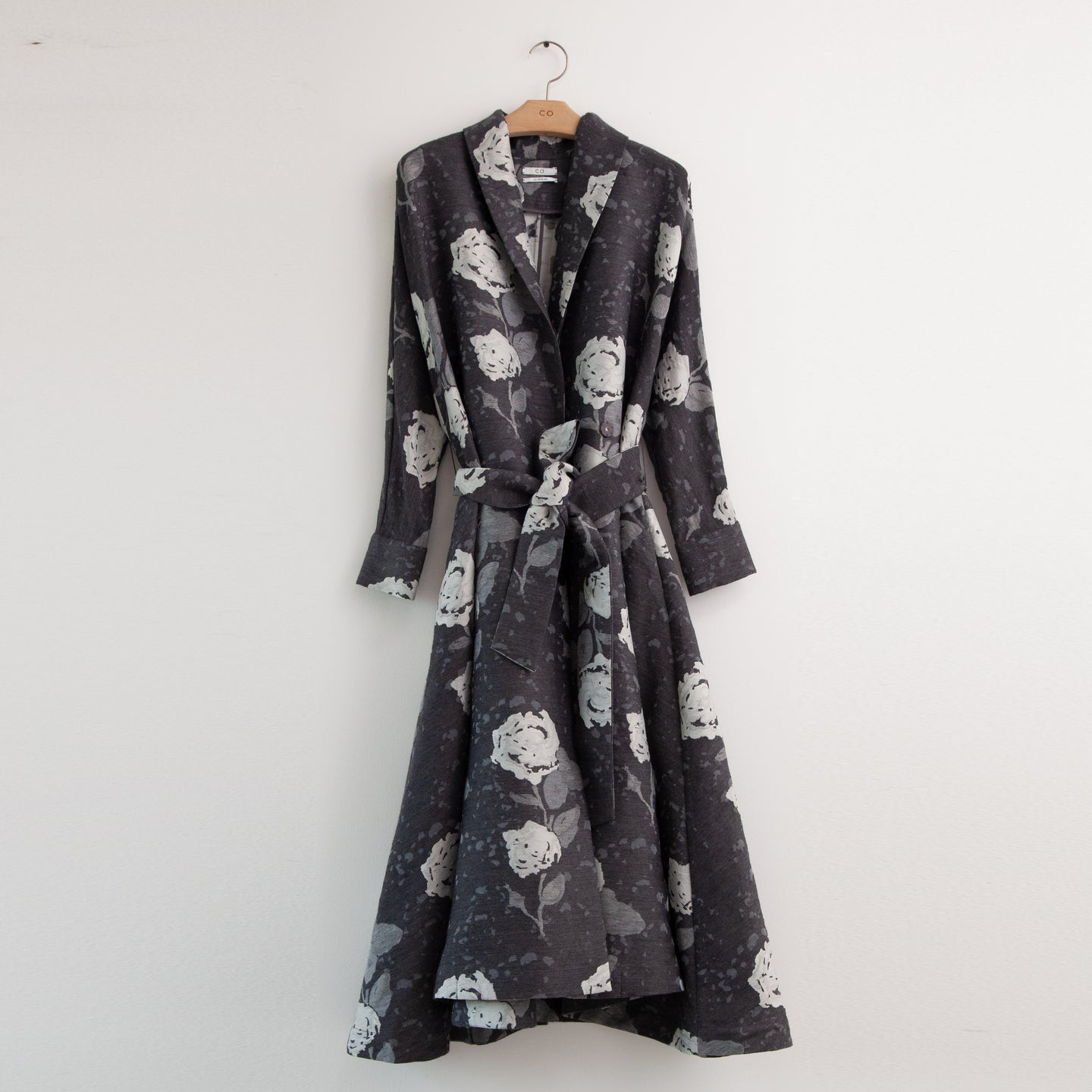 CO - Long sleeve a line belted dress/evening coat in grey floral wool