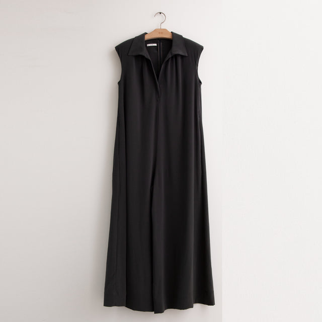 CO - Sleeveless collared v neck jumpsuit in black viscose crepe