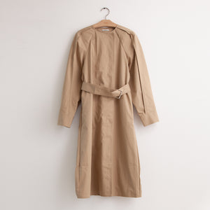 CO - Long sleeve belted cape back trench coat in khaki water resistant cotton twill