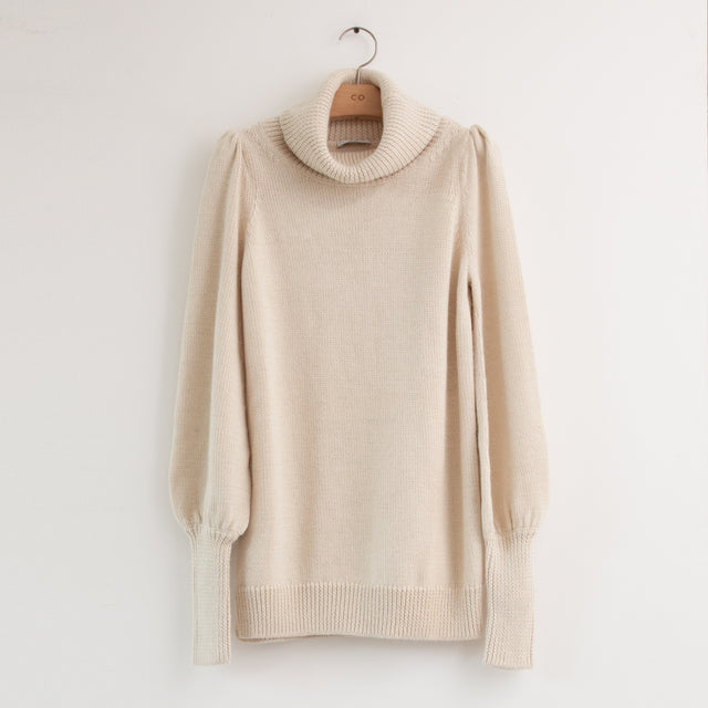 CO - Long sleeve turtleneck sweater with ruched shoulder and bell sleeves in ivory silk wool