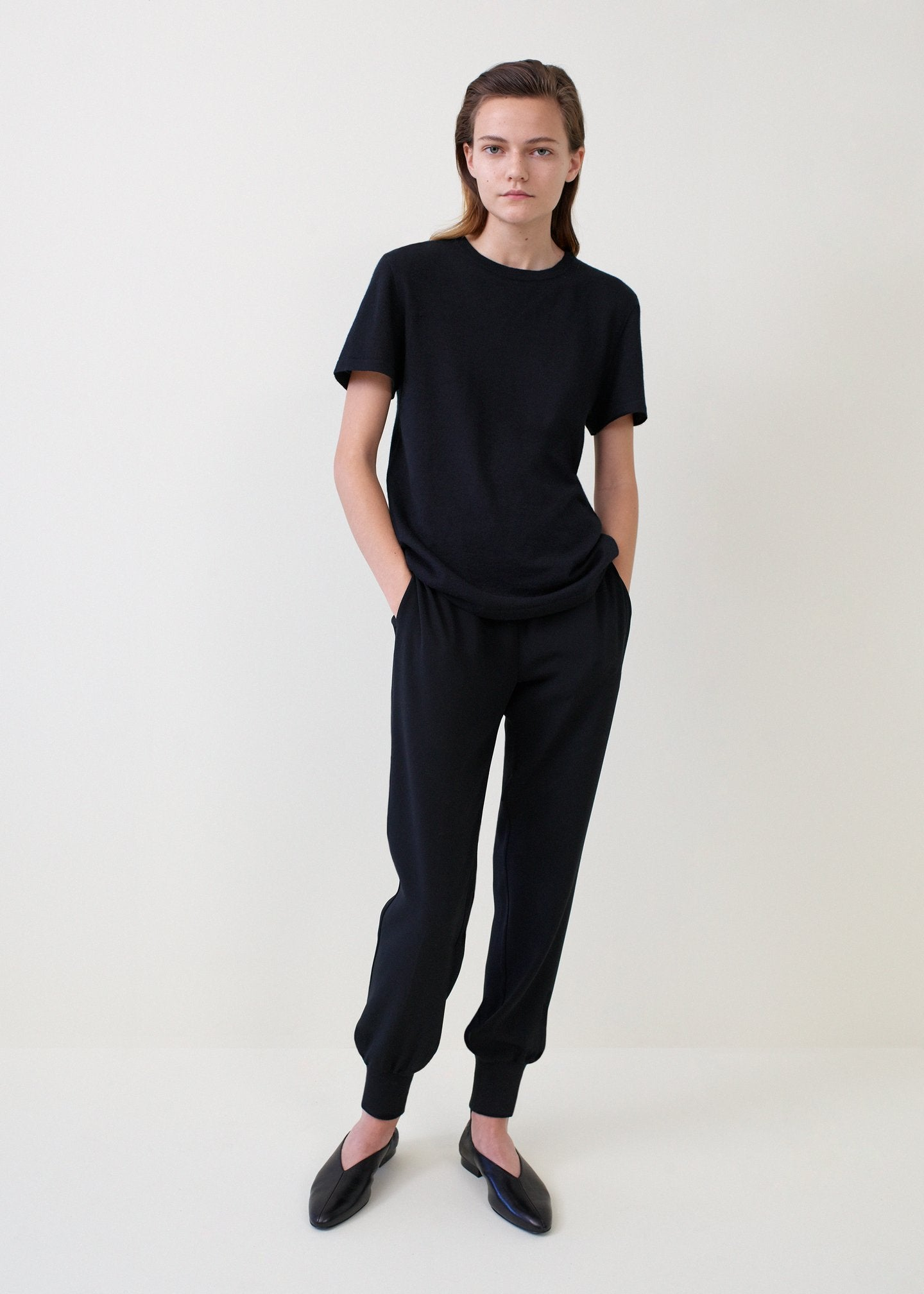 Black Cashmere T-Shirt and Jogger Pants - Co Collections
